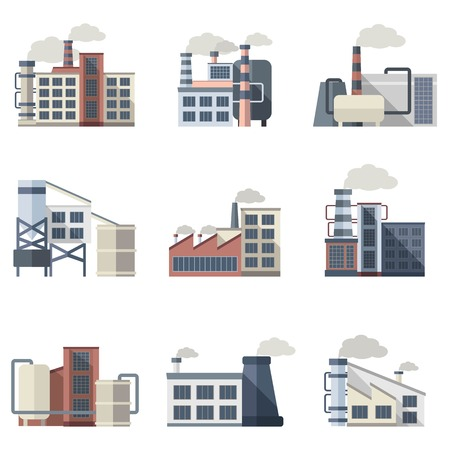 Industrial building plants and factories flat icons set isolated vector illustration