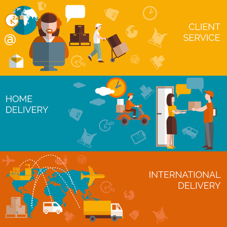 Illustration pour Worldwide logistic home package delivery clients service concept 3 flat horizontal banners composition abstract isolated vector illustration - image libre de droit