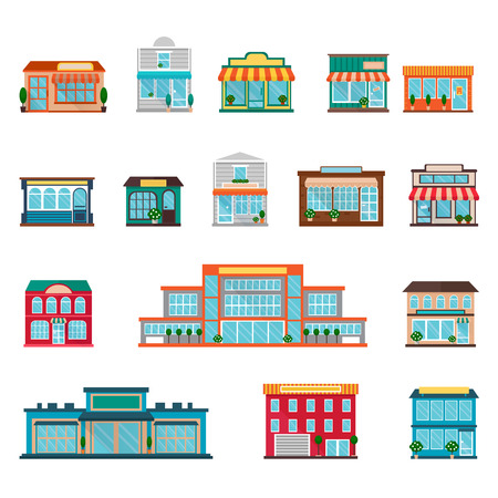 Illustration pour Stores and supermarkets big and small buildings icons set flat isolated vector illustration - image libre de droit