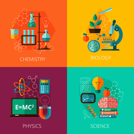 Biological physics laboratory and chemistry scientific education concept 4 flat icons composition print abstract isolated vector illustration