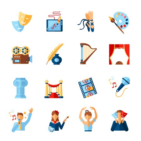 Art and culture icons set with theatre literature cinema symbols isolated vector illustration