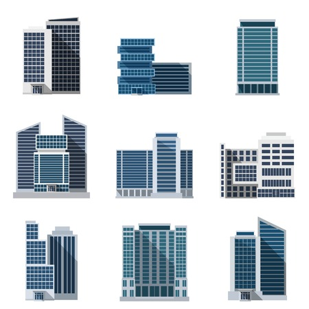 Office buildings and business centers flat icons set isolated vector illustration
