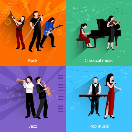 Musicians design concept set with pop rock jazz classical music players flat icons isolated vector illustration