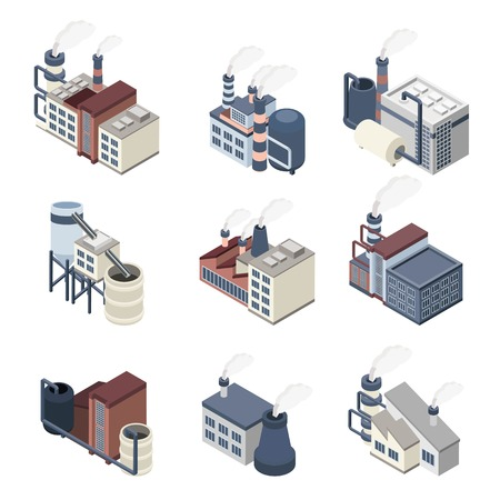 Industrial buldings isometric icons set with 3d plants and factories isolated vector illustration