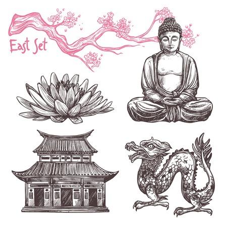 Illustration pour Asian sketch set with lotus buddha dragon sakura branch isolated vector illustration - image libre de droit
