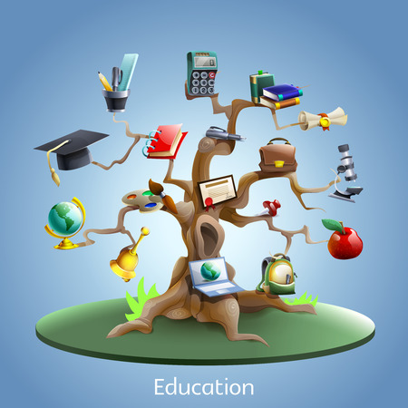Illustration pour Education and study tree concept with laptop and graduation certificate on blue background cartoon vector illustration - image libre de droit