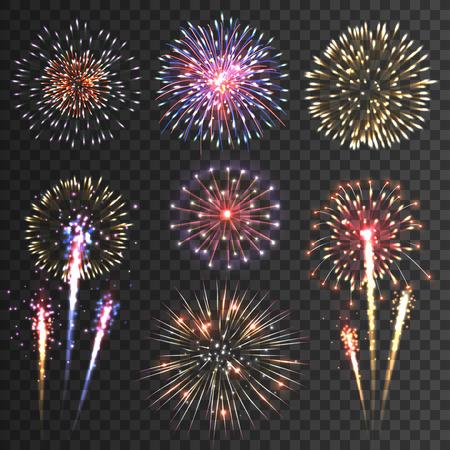 Ilustración de Festive patterned firework  bursting  in various shapes sparkling pictograms set  against black background abstract vector isolated illustration - Imagen libre de derechos