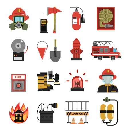Fire and firefighter equipment icon flat set isolated vector illustration