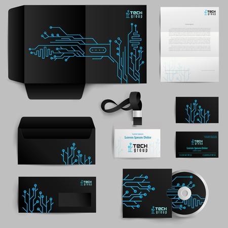Foto de Corporate identity realistic elements set with technology pattern isolated vector illustration - Imagen libre de derechos