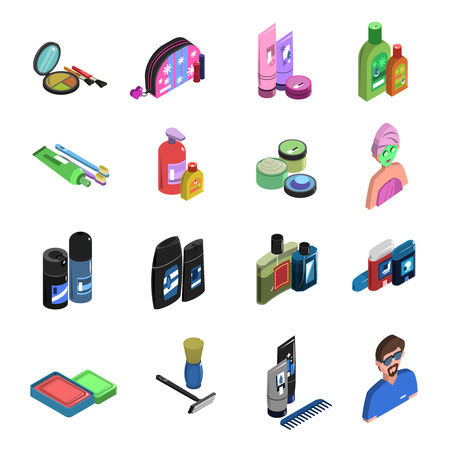 Body care cosmetic personal hygiene deodorant and perfume color isometric icon set isolated vector illustration