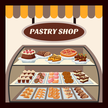 Pastry shop background with tasty cakes pies biscuits and donuts flat vector illustration