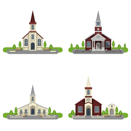Foto de White and red brick churches and chapels with gardens flat color decorative icon set isolated vector illustration - Imagen libre de derechos