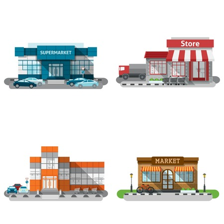 Shops stores and supermarket buildings flat decorative icons set isolated vector illustration