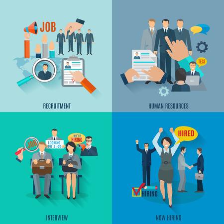 Foto de Hire design concept set with human resources recruitment flat icons isolated vector illustration - Imagen libre de derechos
