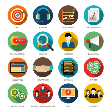 Illustration pour CRM round icons set with monitoring support customer communication and database vector illustration - image libre de droit