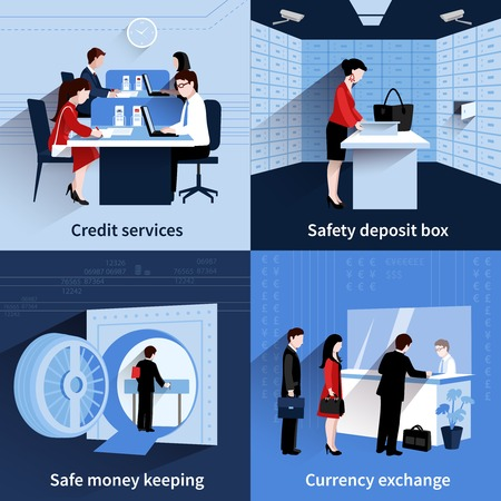 Illustration pour Bank people design concept set with credit services and safe money keeping flat icons isolated vector illustration - image libre de droit