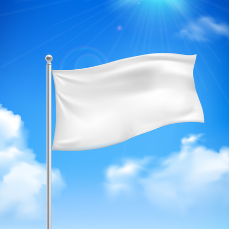 White flag in the wind against the blue sky with white clouds background banner abstract vector illustration