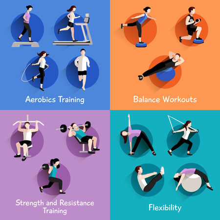 Foto de Fitness aerobic strength and body shaping exercises 4 flat icons square composition banner abstract isolated vector illustration - Imagen libre de derechos