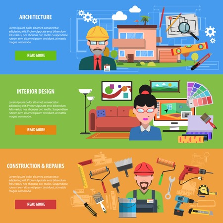 Interior banner horizontal set with architecture construction and repairs flat elements isolated vector illustration