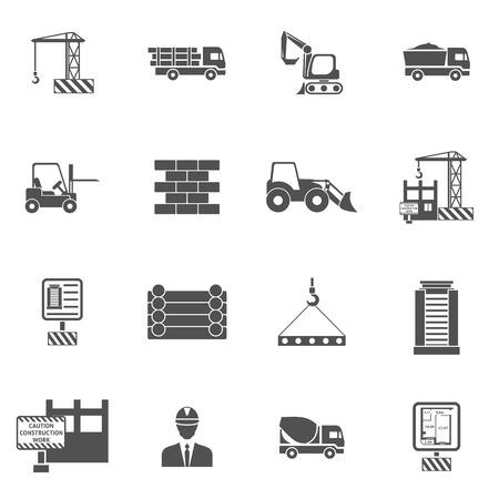 Ilustración de Construction icons flat black set with bulldozer mixer and lifter isolated vector illustration - Imagen libre de derechos