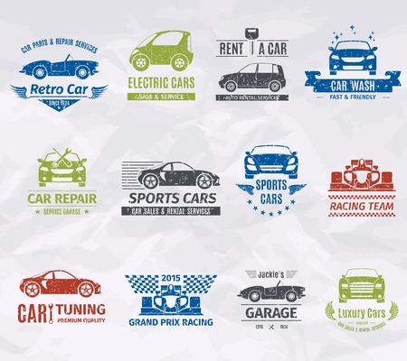Illustration pour Sport racing car team logo stamps set isolated vector illustration - image libre de droit
