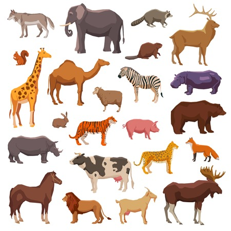 Photo for Big wild domestic and farm animals decorative icons set isolated vector illustration - Royalty Free Image