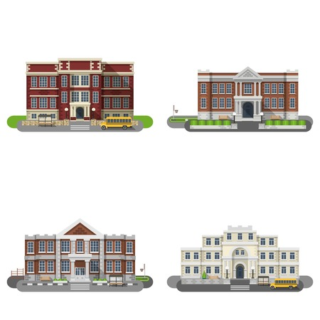 School and university buildings flat icons set isolated vector illustration
