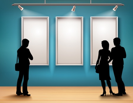 Illustration pour People silhouettes in front of picture frames in art gallery interior vector illustration - image libre de droit