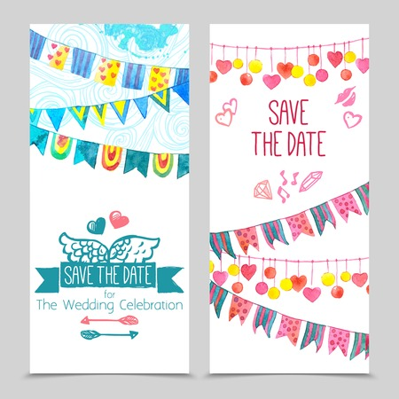 Save the day card paper wedding invitation template set isolated vector illustration