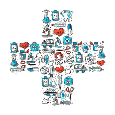Medicine and healthcare concept with medical decorative icons in cross shape vector illustration