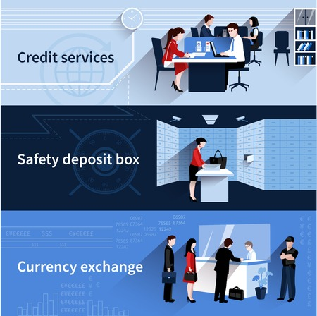Bank people horizontal banners set with credit services and currency exchange flat elements isolated vector illustration
