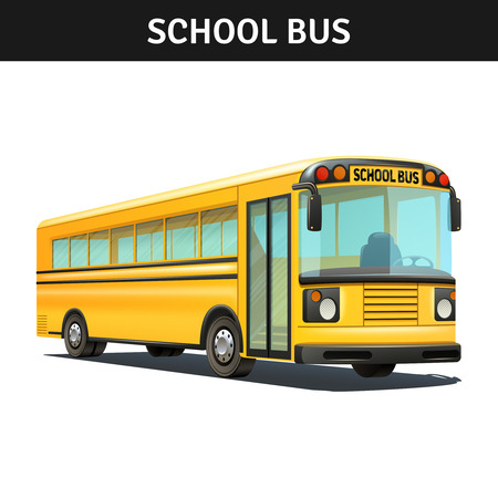 Illustration for Yellow empty school bus design with title realistic vector illustration - Royalty Free Image