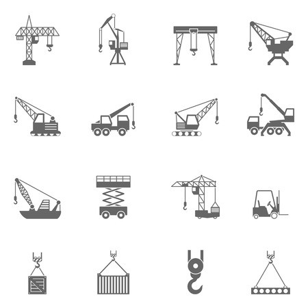 Ilustración de Cranes for different construction projects black icons set with tower and floating cranes abstract isolated vector illustration - Imagen libre de derechos