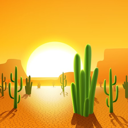 Illustration for Cactus plants in mexican desert with rising sun on background vector illustration - Royalty Free Image