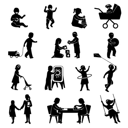 Children black silhouettes playing  active games set isolated vector illustration