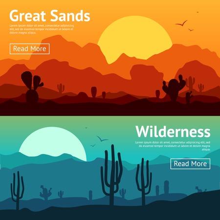 Illustration pour Desert horizontal banner set with cactus plants isolated vector illustration - image libre de droit