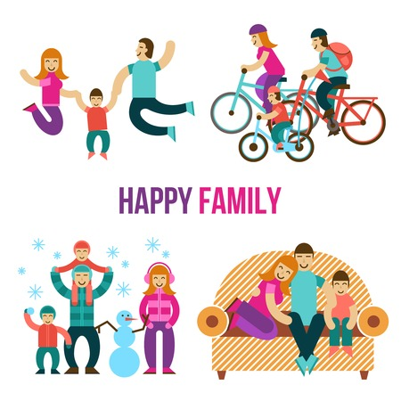 Family fun set with happy people jumping sitting on couch riding a bicycle flat isolated vector illustration