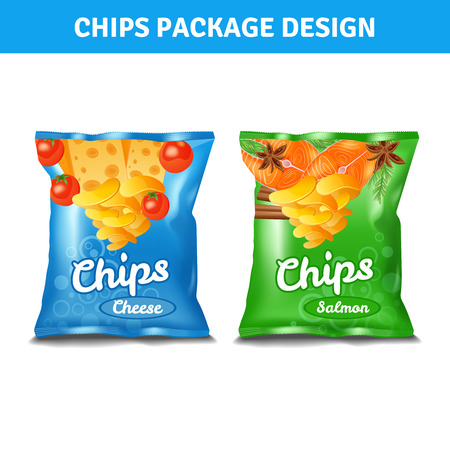 Chips color pack design for cheese and salmon tastes realistic isolated vector illustration