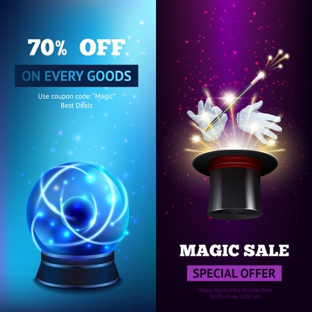 Magic banners vertical set with crystal sphere and magician hat isolated vector illustration