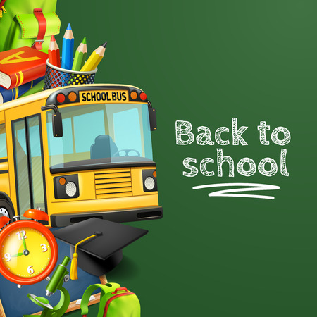 Back to school green background with bus pencils books and clock realistic vector illustration