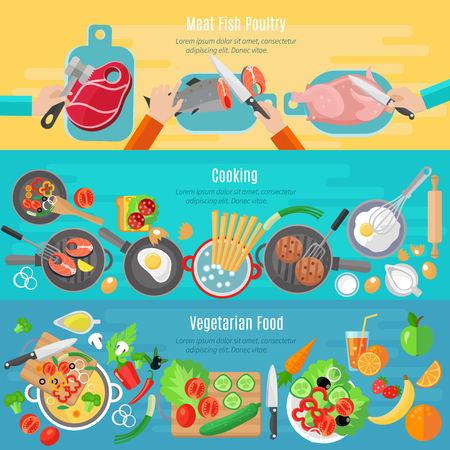 Vektor für Healthy vegetarian diet dishes and meat fish poultry home cooking flat banners set abstract isolated vector illustration - Lizenzfreies Bild