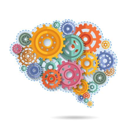 Illustration pour Various flat style color gears in shape of brain concept vector illustration - image libre de droit