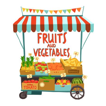 Street sale cart with fruits and vegetables cartoon vector illustrationのイラスト素材