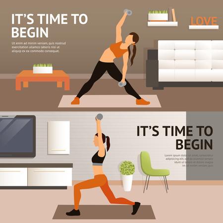 Foto de Woman home fitness workout horizontal banner set isolated vector illustration - Imagen libre de derechos