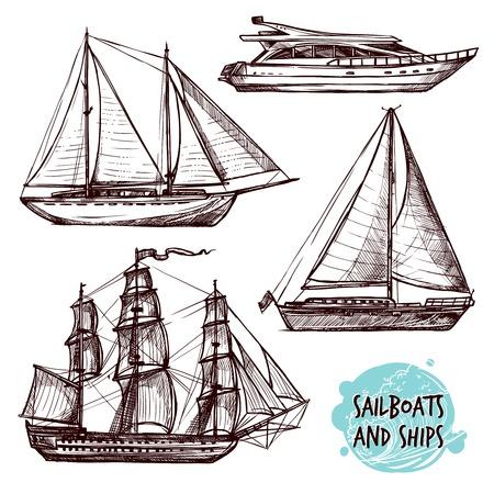 Ilustración de Hand drawn retro sail ships and speed boat set isolated vector illustration - Imagen libre de derechos