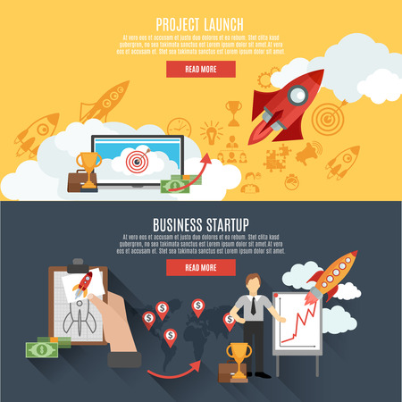 Illustration pour Business startup project launch two horizontal banners webpage interactive design with rocket flat abstract isolated vector illustration - image libre de droit