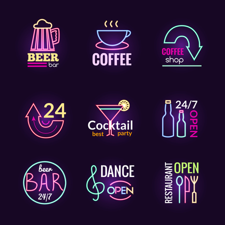 Restaurant bar and dance club neon signs set isolated vector illustration