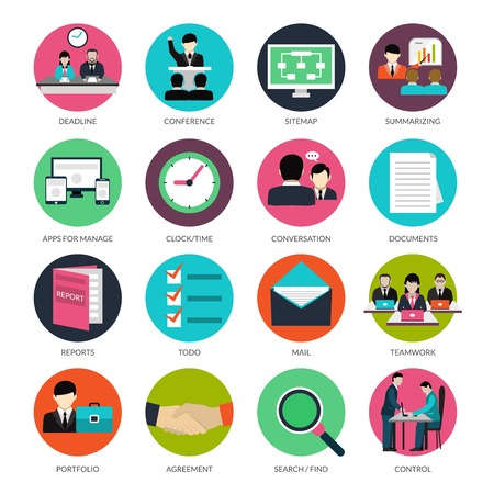 Illustration pour Project management icons with deadline conference documents and reports isolated vector illustration - image libre de droit
