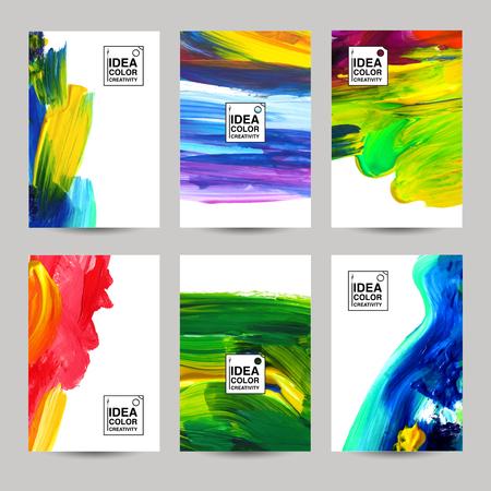 Ilustración de Acrilic paint texture vertical paper banner set isolated vector illustration - Imagen libre de derechos