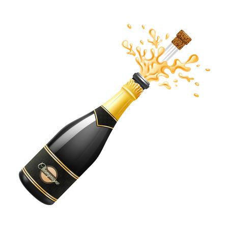 Illustration pour Black champagne bottle explosion with cork and splashes realistic vector illustration - image libre de droit